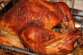 My classic oven roasted turkey begins with a brine, then is left uncovered in the fridge overnight, is trussed, then stuffed with aromatics, and basted with a turkey or chicken stock or broth that is infused with apple cider throughout the roast.