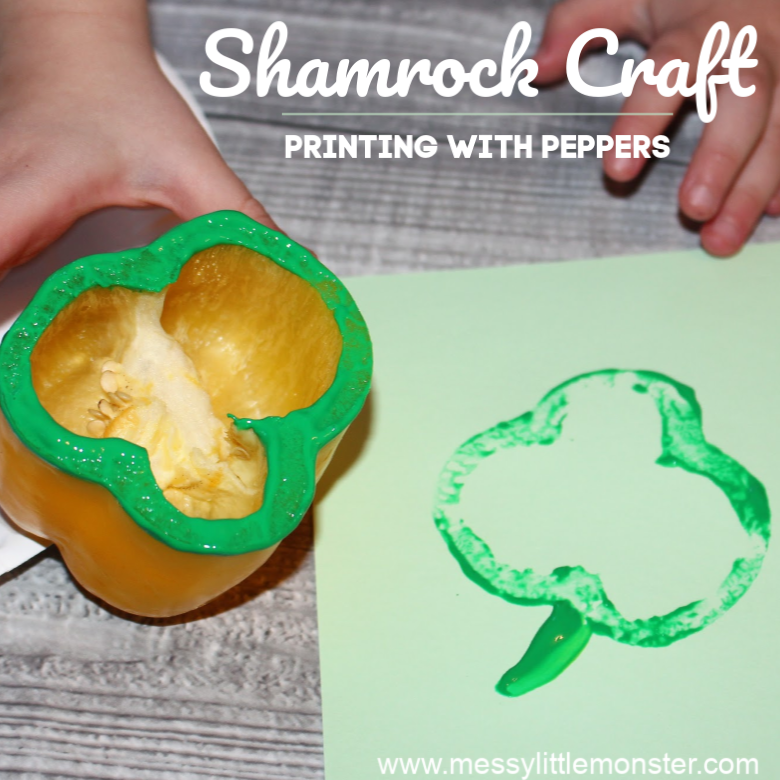 St Patricks Day Shamrock Craft - Printing with Peppers!