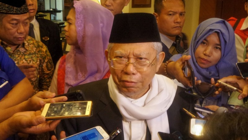 Maruf Amin saat ditemui usai dialog kebangsaan Muslimat NU