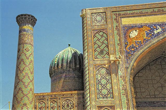 Ouzbékistan, Samarcande, Registan, médersa Cher-Dor, Yalangtush Bakhadour, © Louis Gigout, 1999