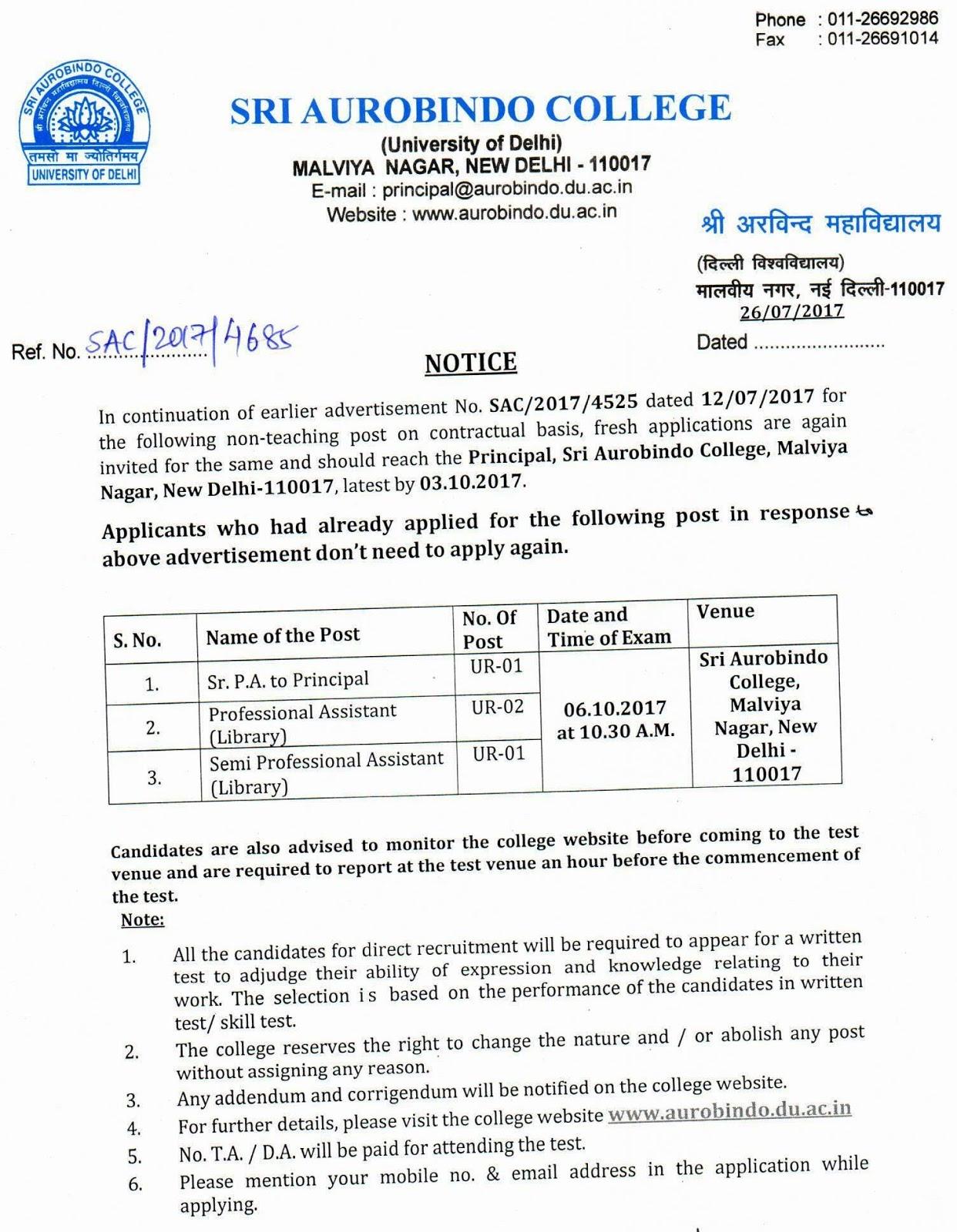 Professional assistant and semi professional assistant vacancy at sri aurobindo college university of delhi malviya nagar