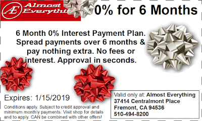 Coupon 6 Month Interest Free Payment Plan December 2018