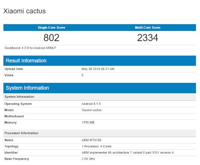 Muncul Ponsel Misterius Xiaomi Cactus di Geekbench