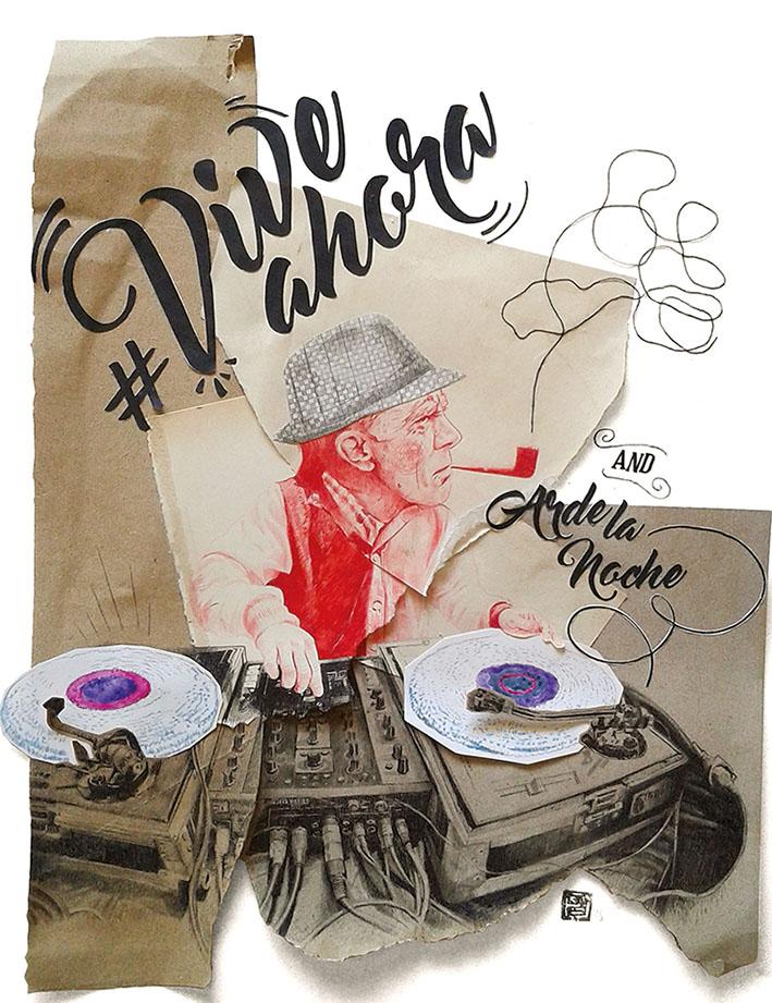 Propuesta para el I Certamen de ilustración de ron barceló. Ilustración realizada con collage y lapiz, lettering recortado. Un dj fumando en pipa.