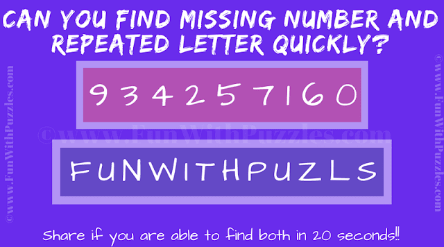 It is Fun Picture Puzzle to test your observation skills in which one has to tell the missing number and repeated letter