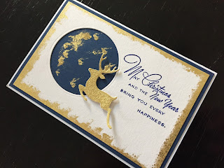 Hand Made Gilded Die Cut Reindeer Christmas Card