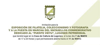 Invitación matasellos exposición Puente Viejo de Lugones