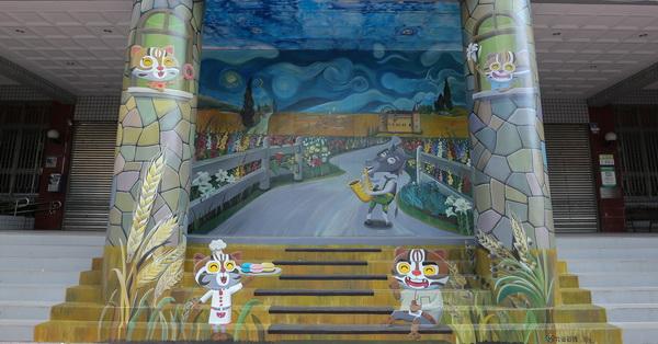 台中大雅|大雅區公所互動3D彩繪|石虎家族歐米馬結合在地特色進入梵谷名畫