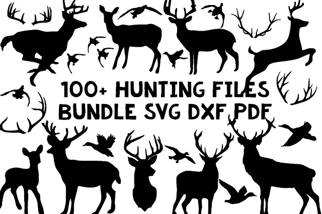 100+ hunting bundle svg dxf clip art silhouette cameo cricut files