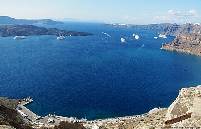Santorini island harbour port view