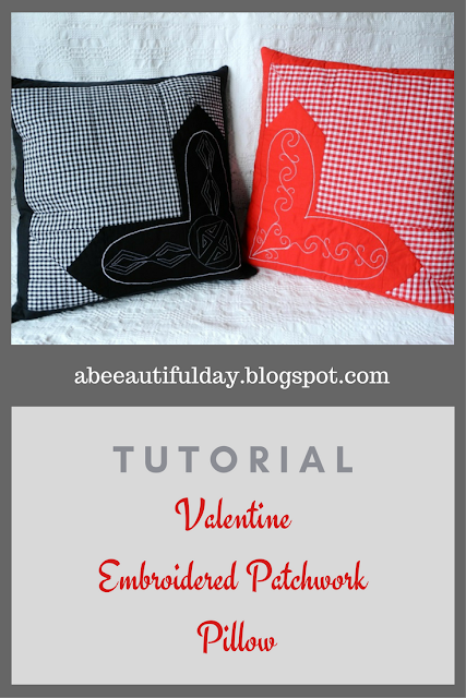Valentine Embroidered Patchwork Pillow-Tutorial-abeeautifulday.blogspot.com