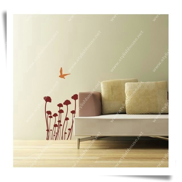 Stylish bird and flowers wall stickers for living room walls