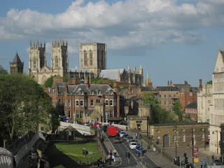 York Minster viewed from city walls, York, England