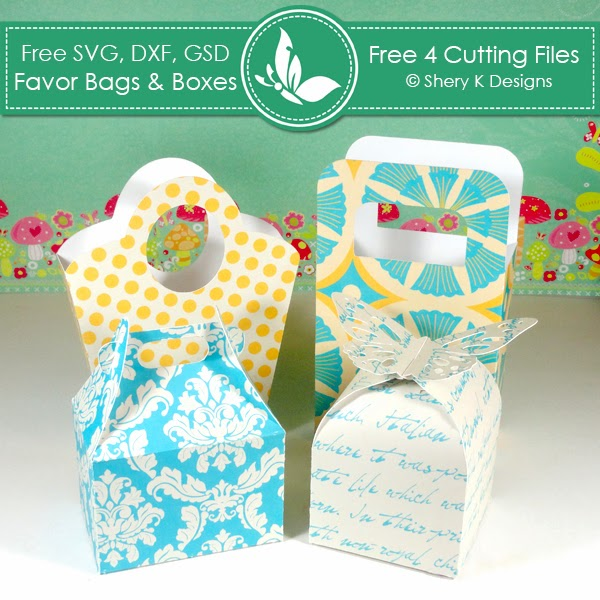 Shery K Designs: Free 4 SVG Favors Bags and Boxes Cutting Files