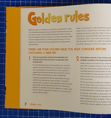Amazing Pets and how to keep them golden rules example page