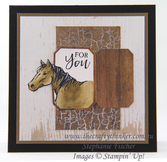 #thecraftythinker  #stampinup  #cardmaking #masculinecard #saleabration #inkitstampit #letitride , Let It Ride, Horse in a stable, Out of The Box technique, Sale-A-Bration, Ink It!Stamp It Blog Hop, Stampin' Up Australia Demonstrator, Stephanie Fischer, Sydney NSW