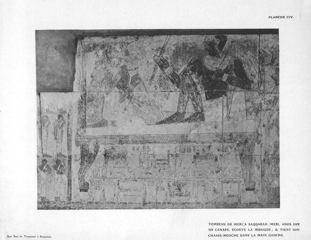 Seshseshet tocando el arpa ante su esposo Mereruka (Jean Capart, Une rue de tombeaux à Saqqarah)