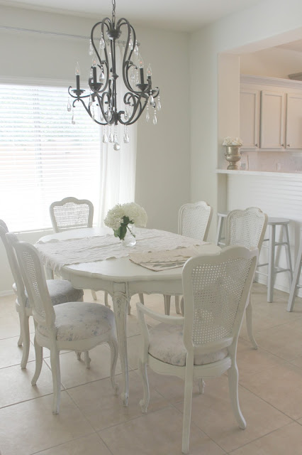 French Country shabby chic white dining room by Hello Lovely Studio