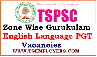 TSPSC Zone Wise Gurukulam English Language PGT Vacancies