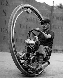 monowheel motorcycle in France , circa 1933