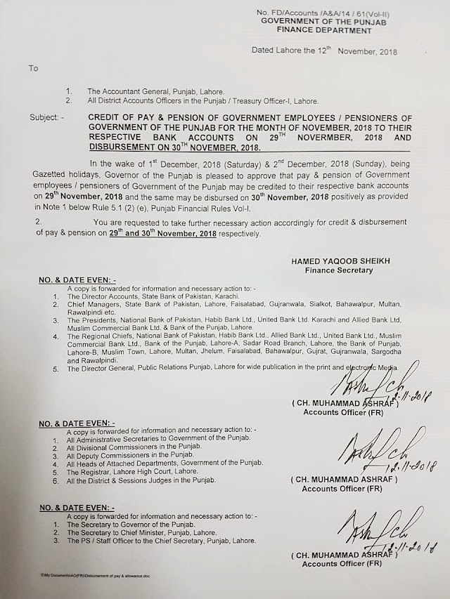 NOTIFICATION REGARDING CREDIT OF PAY AND PENSION OF PUNJAB GOVERNMENT EMPLOYEES ON 29TH & 30TH NOVEMBER 2018