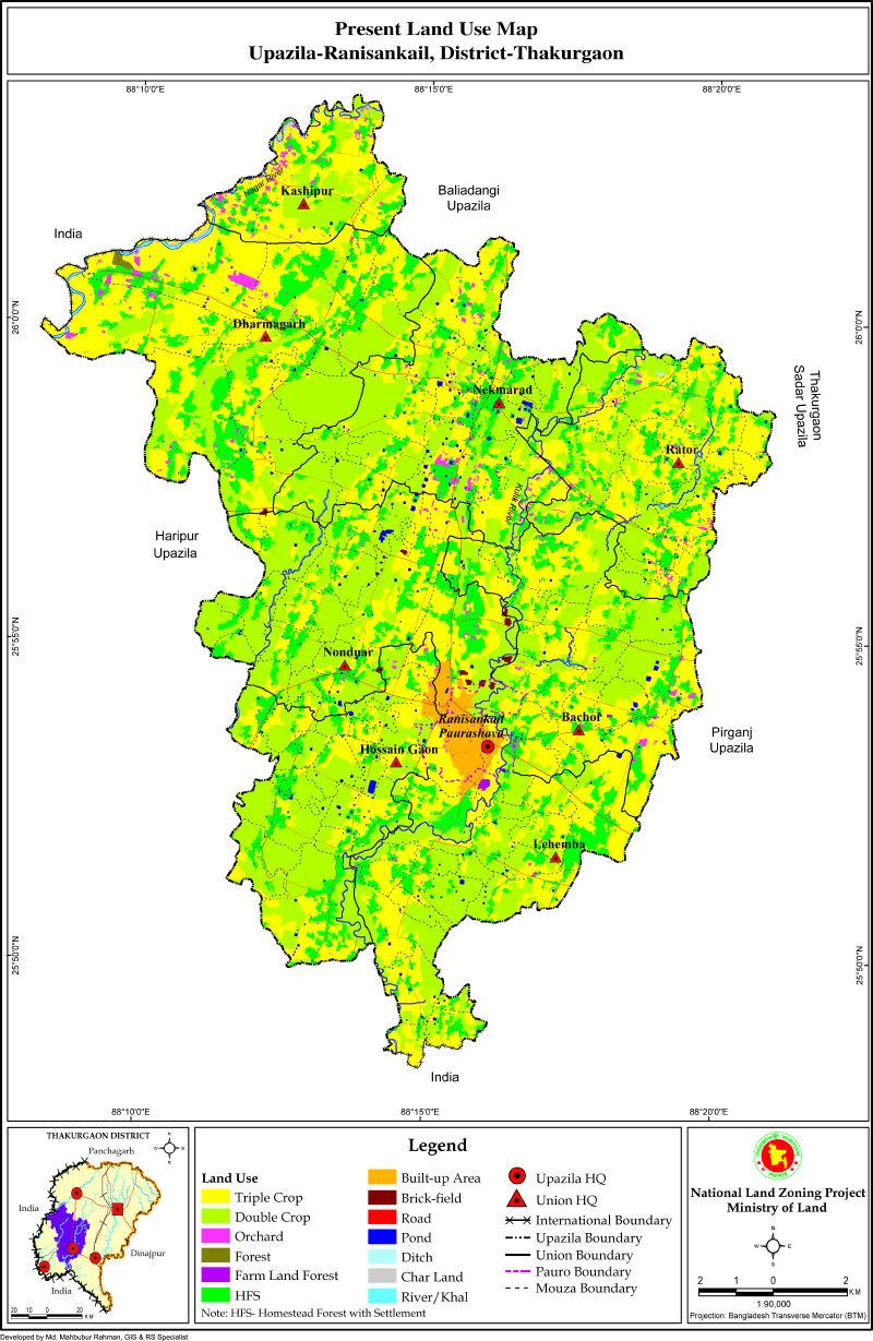 Ranisankail Upazila Mouza Map Thakurgaon District Bangladesh