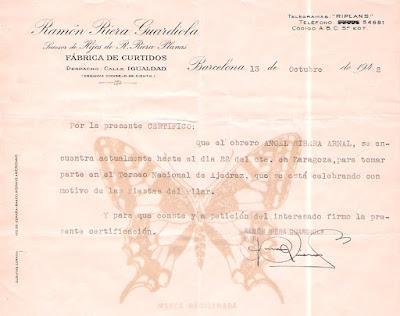 Certificado solicitado por Àngel Ribera a su empresa para poder participar en el Torneo Nacional de Ajedrez Fiestas del Pilar Zaragoza 1942