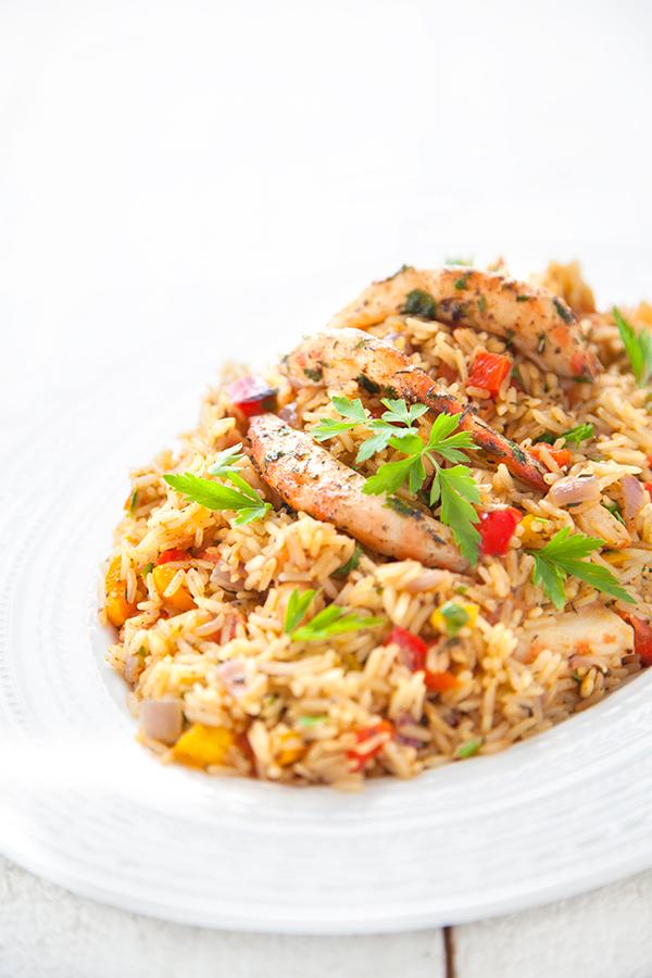 Jambalaya aux crevettes vegan