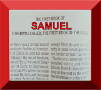A photo of the front page of the first book of Samuel in the Bible, with Samuel written in red capital letters set in a red frame, graphic by Erika Grey