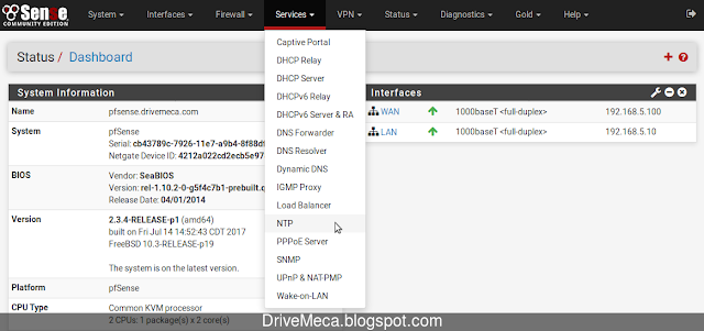 Configurando NTP Server en pfSense