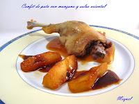 Confit de pato con manzana y salsa oriental