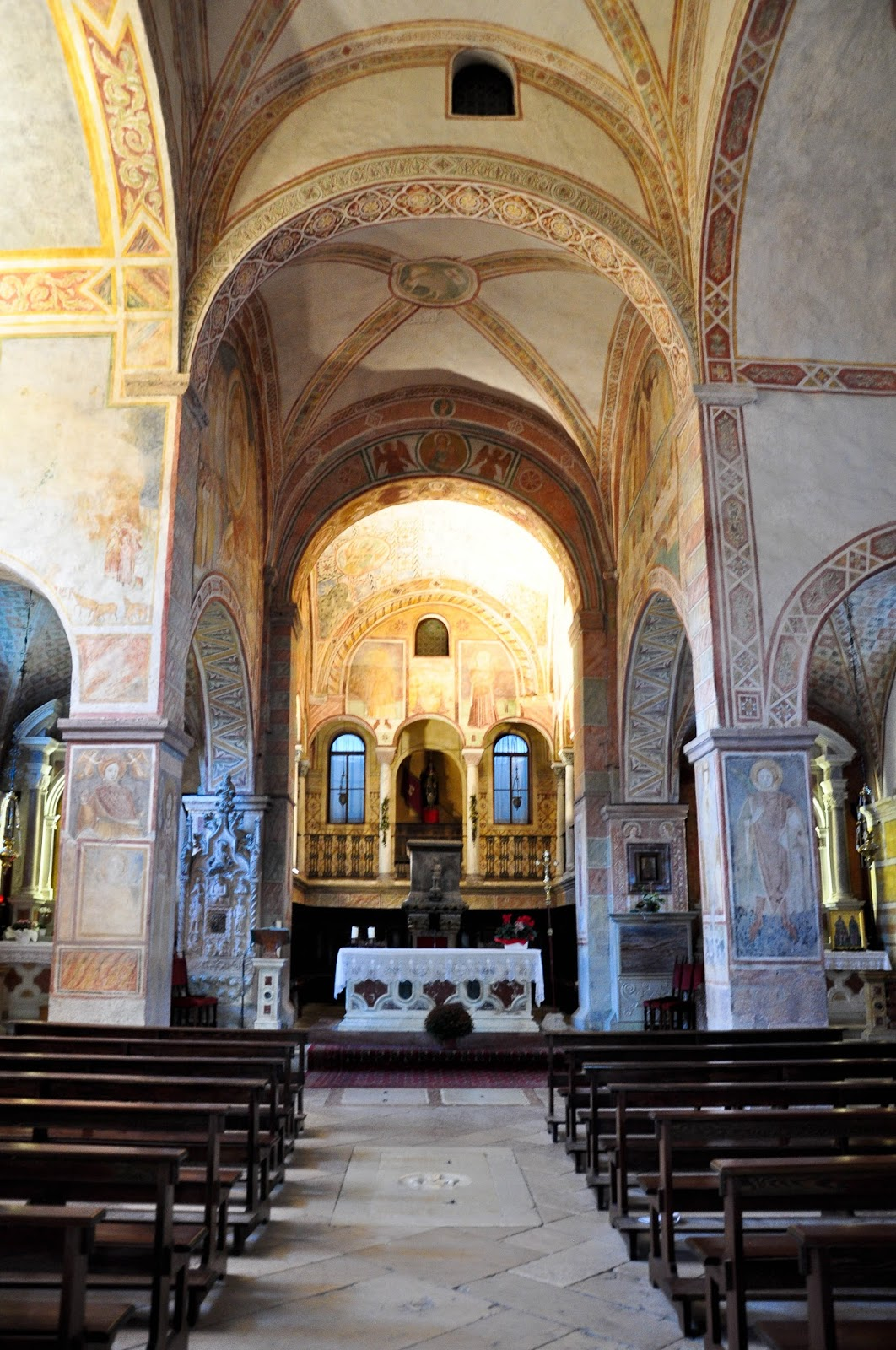 Inside the church, Sanctuary of St. St. Vittore e Corona, Feltre, Veneto, Italy