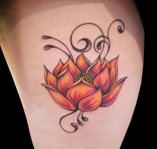 best louts flower tattoo design 520x494