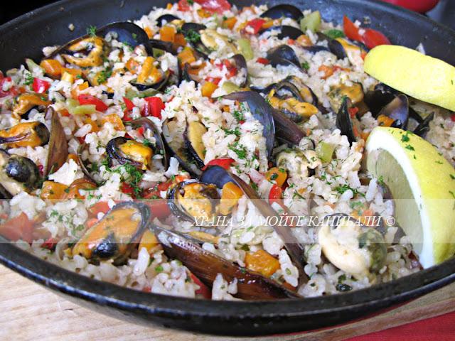 Миди с ориз по бургаски.... т.е. миди от Бургас :)