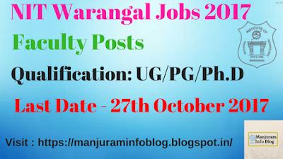 NIT Warangal Faculty Recruitment 2017