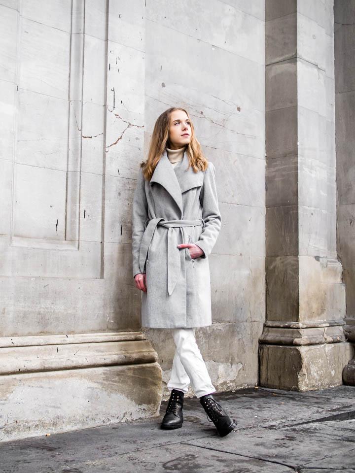 Outfit with grey wool coat - Asu harmaan villakangastakin kanssa