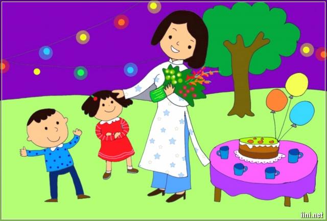 tranh cô giáo nhận hoa của học trò ngày 20-11