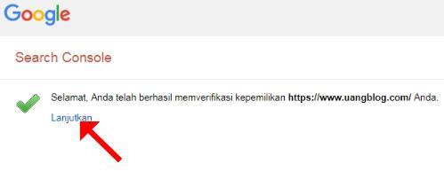 Verifikasi Blog di Google Webmaster Berhasil