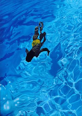 piscine,huile,toile de lin,bleu constructif,bleu