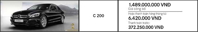 Giá xe Mercedes C200 2017 tại Mercedes Trường Chinh