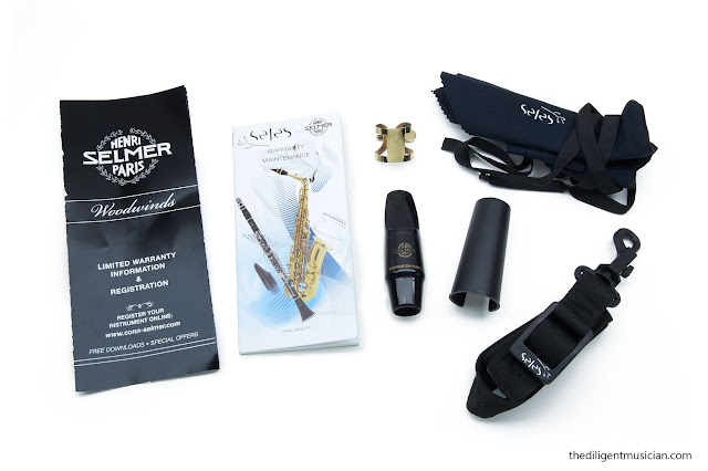 Leaflets, warranty, S80 mouthpiece and ligature, neck strap and swab included with the SeleS Axos alto saxophone