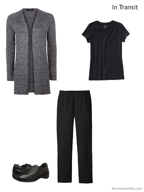 travel outfit of black tee, black pants, and black tweed cardigan