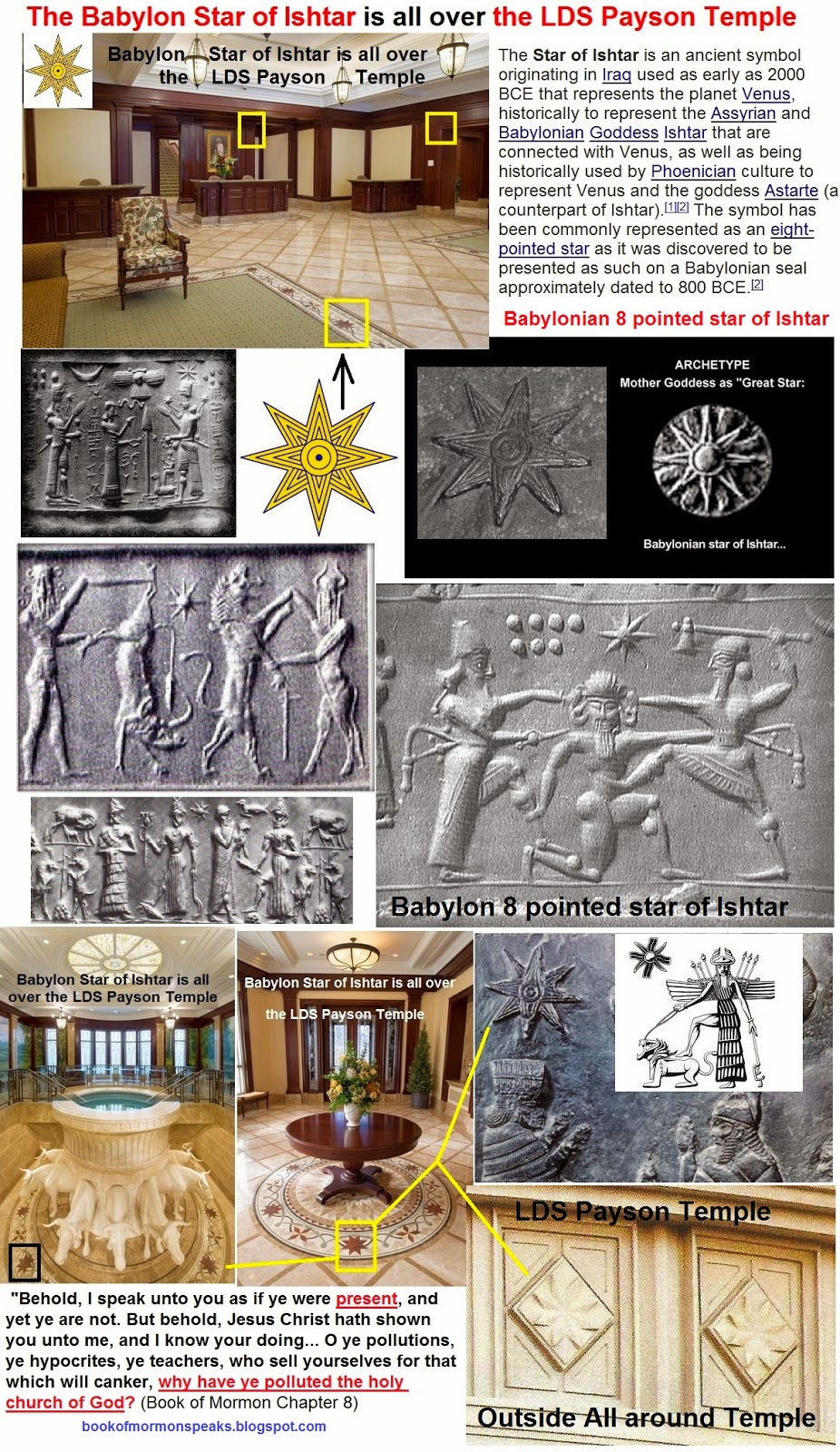 Book of Mormon Speaks from the Dust: Babylonian 8 pointed Star of Ishtar is  all over the LDS Payson Temple