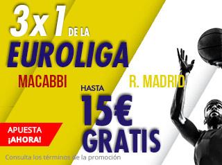 suertia promocion Euroliga Maccabi vs Real Madrid 8 noviembre
