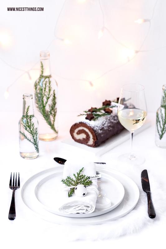 Tischdeko Weihnachten weiss schlicht Weihnachtsdinner französisch