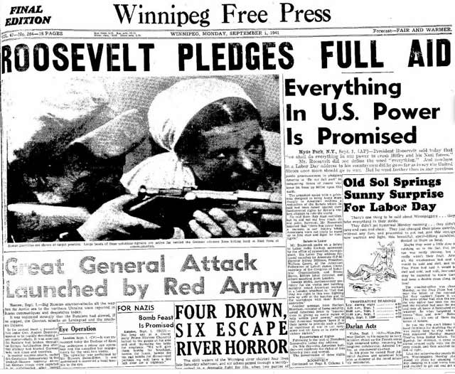 Winnipeg Free Press, 1 September 1941 worldwartwo.filminspector.com