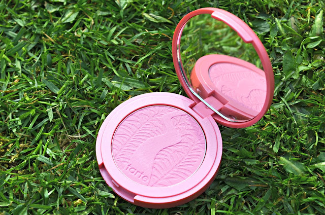 Open blusher compact sharing the Tarte Dollface blusher