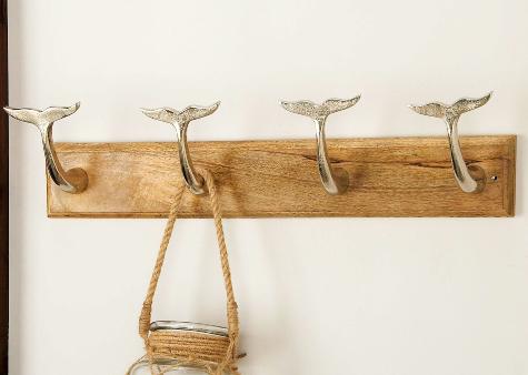 Whale Rail Hook Coat Rack Gold