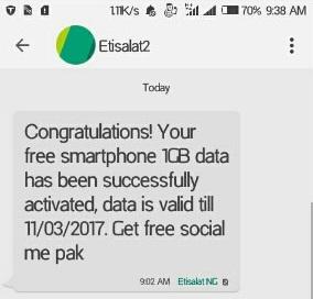 Get Etisalat 1GB Data For Free