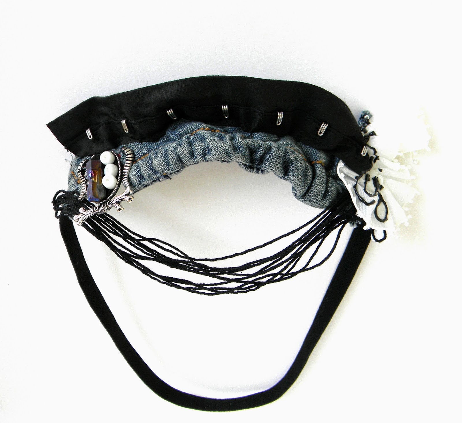 Textile Headband with cotton strings, beads and jeans applique